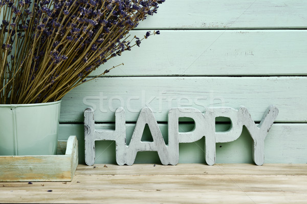 word happy and bunch of lavender flowers Stock photo © nito