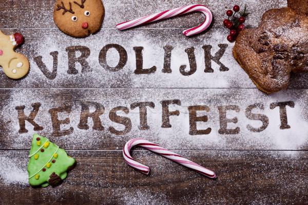 текста веселый Рождества голландский выстрел деревянный стол Сток-фото © nito