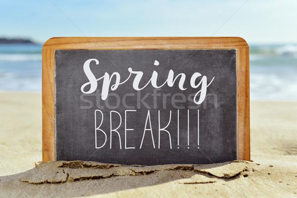 Szöveg tavaszi szünet tábla tengerpart közelkép írott Stock fotó © nito