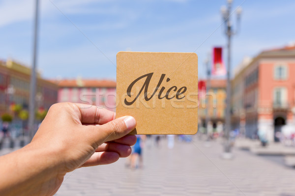 word Nice in Massena square in Nice, France Stock photo © nito