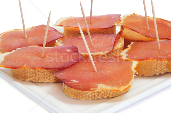sandwiches with lomo embuchado, spanish cured pork sirloin Stock photo © nito
