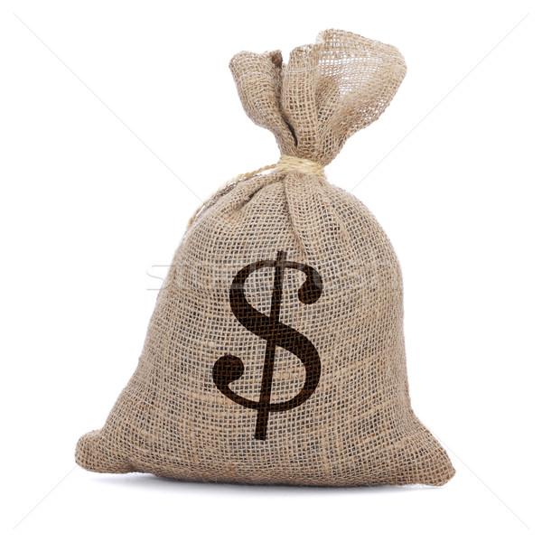 Pénz táska zsákvászon fonal fehér szövet Stock fotó © nito