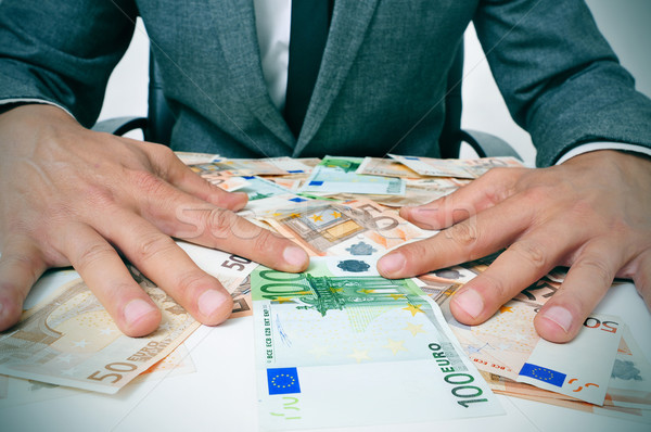 man in suit with euro bills Stock photo © nito