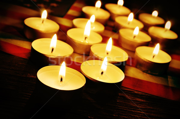 flag of the United States and lighted candles Stock photo © nito