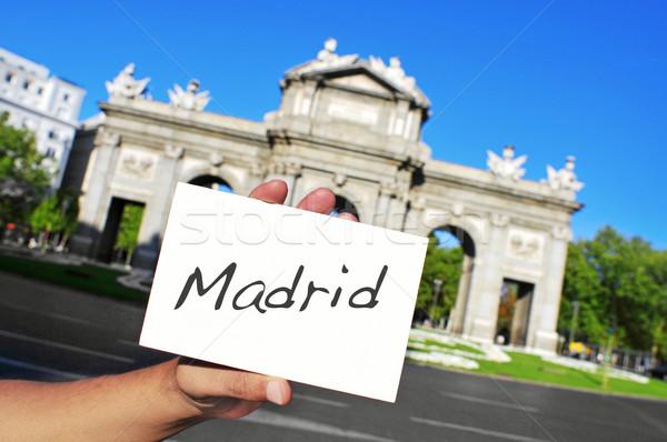 La Madryt Hiszpania człowiek słowo Zdjęcia stock © nito