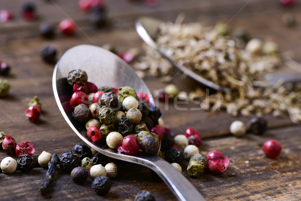 spoon with a variety of peppercorns Stock photo © nito