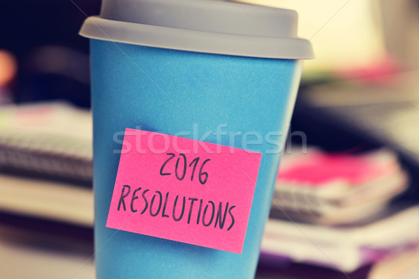 sticky note with the text 2016 resolutions in a cup Stock photo © nito