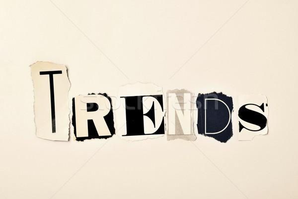 Woord trends geschreven verschillend brieven kranten Stockfoto © nito