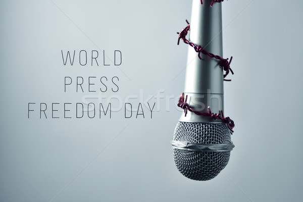 microphone and text world press freedom day Stock photo © nito