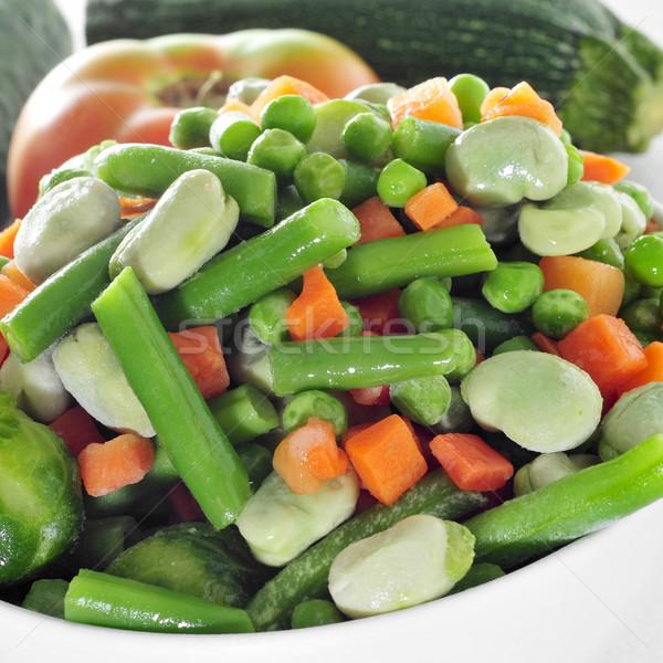 Pişmiş karışık sebze çanak yağ Stok fotoğraf © nito
