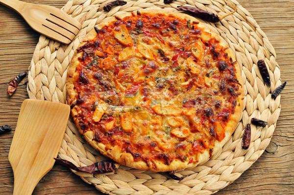 ピザ 鶏 赤 唐辛子 緑 務め ストックフォト © nito