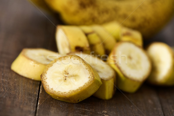 chopped bananas on a wooden surface Stock photo © nito