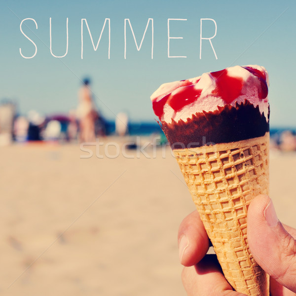 text summer and an ice cream on the beach Stock photo © nito