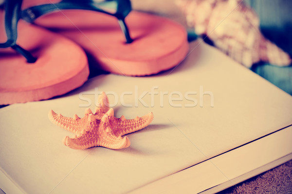 starfish, flip-flops and book, filtered Stock photo © nito