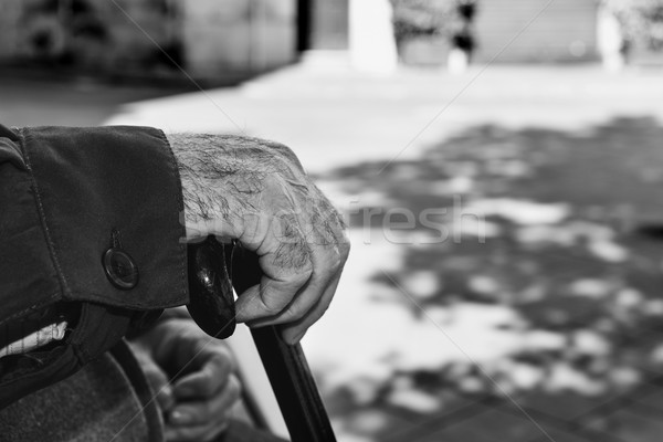 old man with a walking stick, black and white Stock photo © nito