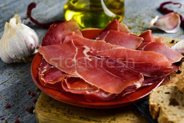 Spaans serrano ham houten Stockfoto © nito