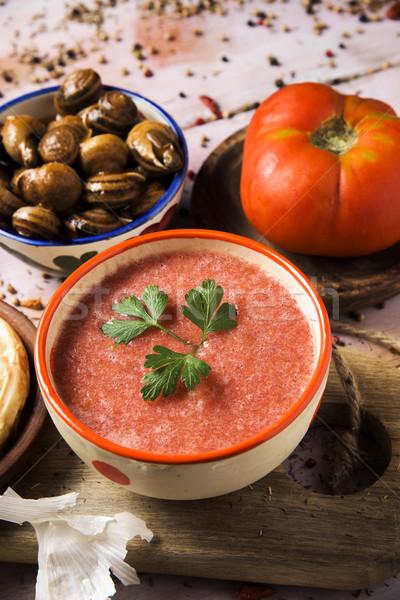 Spanyol kerámia tál érett paradicsom salsa Stock fotó © nito