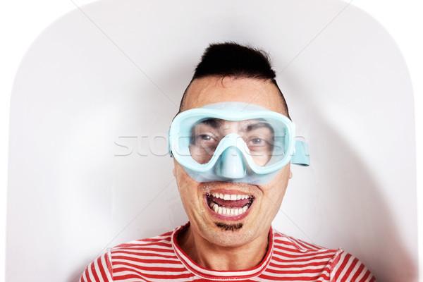 Homme plongée masque eau baignoire Photo stock © nito