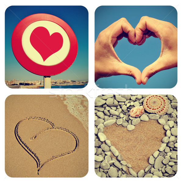 heart-shaped things collage Stock photo © nito