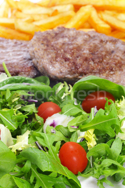 combo platter with salad, burgers and french fries Stock photo © nito