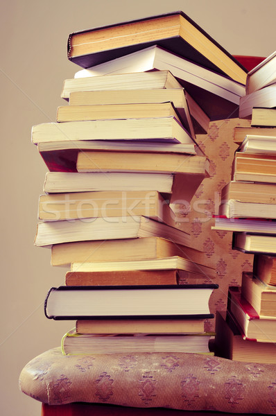 books on a chair, with a retro effect Stock photo © nito