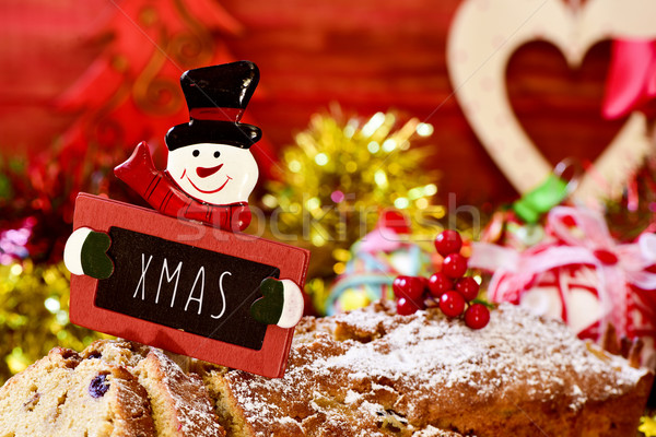 fruitcake topped with a chalkboard with the text xmas Stock photo © nito