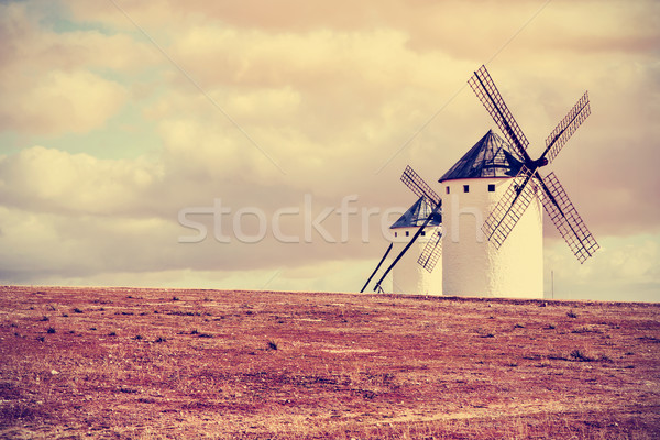 old windmills in Campo de Criptana, Spain, filtered Stock photo © nito