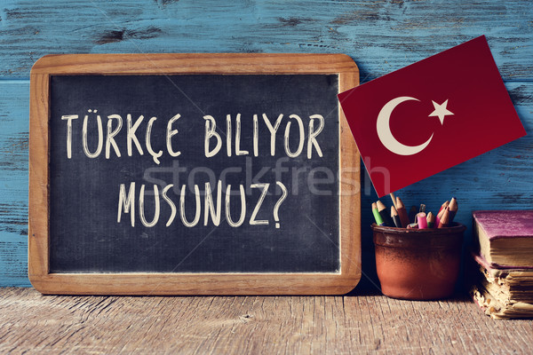 question do you speak Turkish? written in Turkish Stock photo © nito