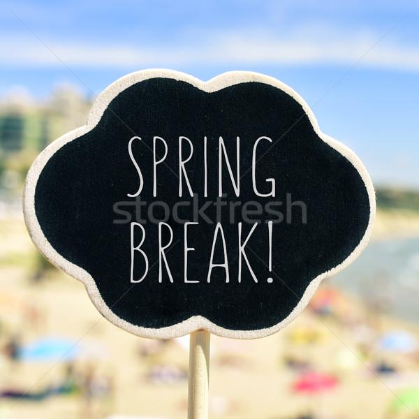Tavaszi szünet tengerpart közelkép fekete forma gondolatbuborék Stock fotó © nito