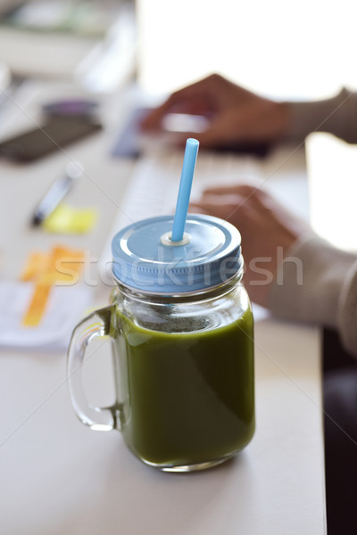 green smoothie on the office desk Stock photo © nito