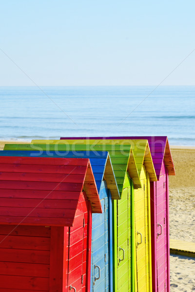beach huts of different colors Stock photo © nito