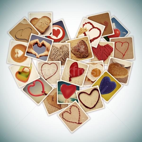 Szívek kollázs különböző dolgok szív retro Stock fotó © nito