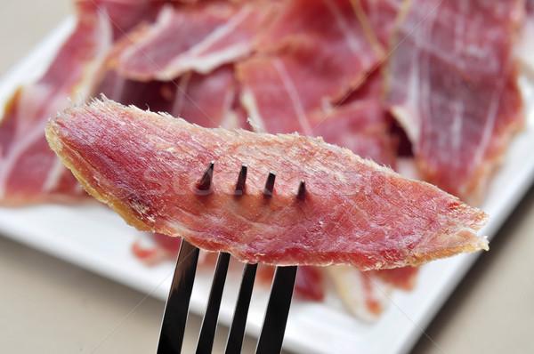Serrano sonka tapas közelkép tányér spanyol Stock fotó © nito