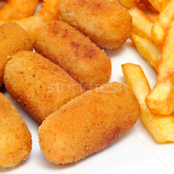 french fries and spanish croquettes and calamares a la romana Stock photo © nito