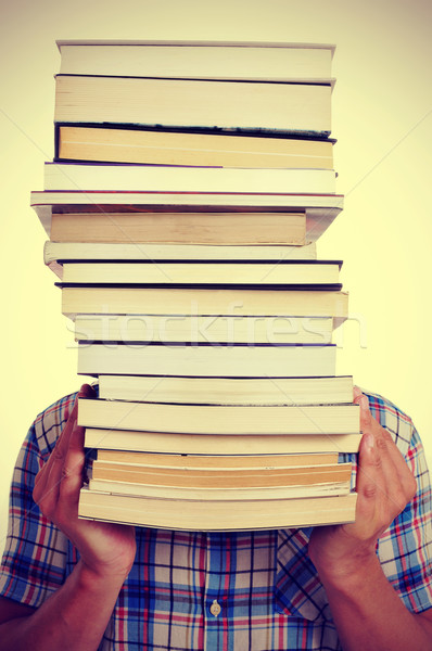 man with books, with a filter effect Stock photo © nito