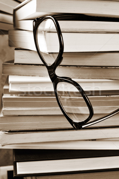 Stock photo: books and eyeglasses, in black and white