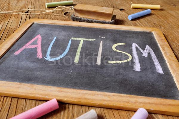 Wort Autismus geschrieben Tafel Kreide unterschiedlich Stock foto © nito