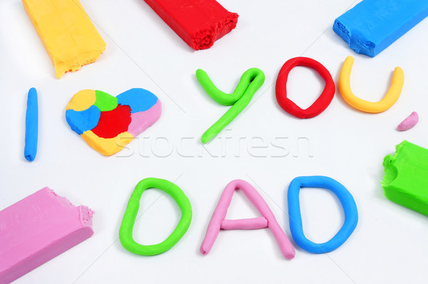 text I love you dad made from modeling clay Stock photo © nito