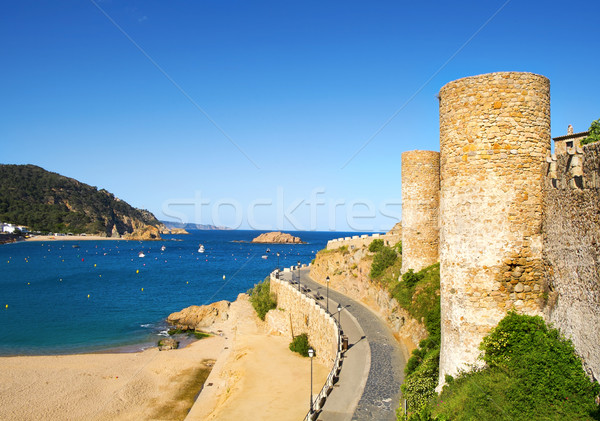 Platja Gran beach and old town of Tossa de Mar, Spain Stock photo © nito