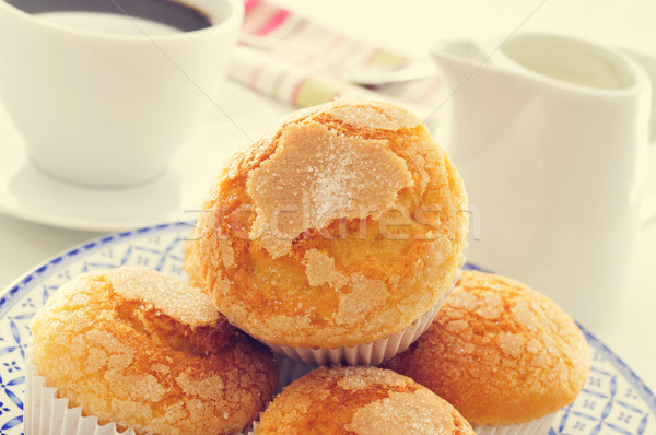 magdalenas, typical spanish plain muffins, and coffee Stock photo © nito