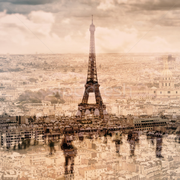 multiple exposure of different pictures of Paris, France Stock photo © nito