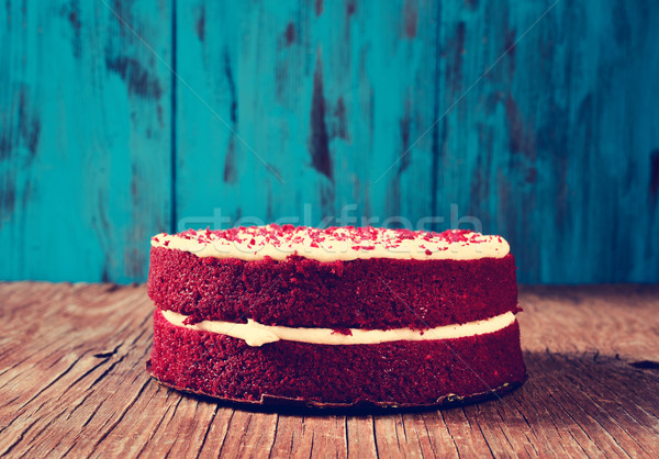 red velvet cake on a wooden table, filtered Stock photo © nito