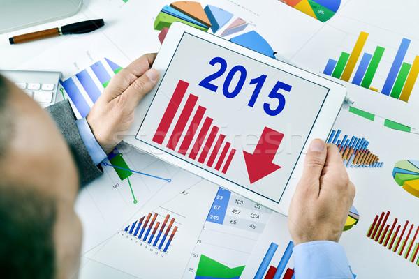 Zakenman grafiek trend 2015 jonge Stockfoto © nito