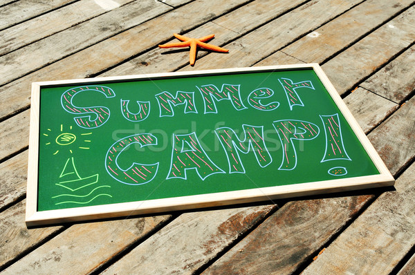 Texto campamento de verano escrito pizarra tiza diferente Foto stock © nito