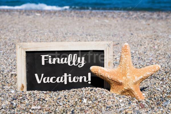 Starfish доске текста отпуск написанный Сток-фото © nito