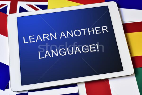 Texto aprender outro linguagem tela Foto stock © nito