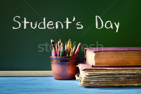 text students day in a chalkboard Stock photo © nito
