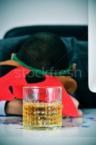 businessman sleeping in his office after a christmas party Stock photo © nito