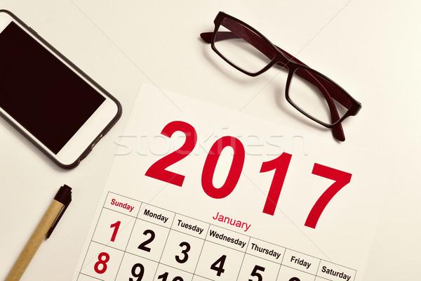 Kalender erschossen Paar Smartphone Stock foto © nito