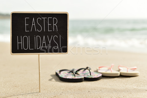 text easter holidays on the beach Stock photo © nito